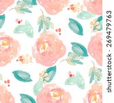cute watercolor floral pattern... | Shutterstock . vector #269479763