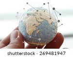 icon on wooden ball of website...   Shutterstock . vector #269481947