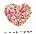 bouquet of roses watercolor as... | Shutterstock . vector #269490023