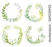 set of flowers painted in... | Shutterstock . vector #269520923