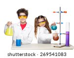 two cute children at chemistry... | Shutterstock . vector #269541083