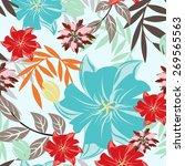 vector flower seamples pattern...   Shutterstock .eps vector #269565563