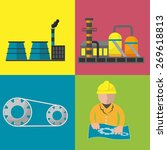 industry factory flat icon set...