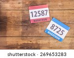 two marathon race number laid...   Shutterstock . vector #269653283