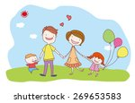 family day. happy family outing.... | Shutterstock .eps vector #269653583