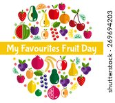 bright fruit set in flat style. ... | Shutterstock .eps vector #269694203