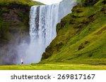 Grand Waterfall Skogafoss In...
