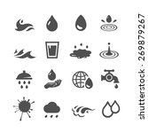vector black water icons set on ... | Shutterstock .eps vector #269879267