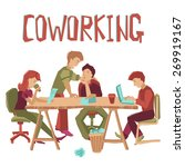 coworking center concept with... | Shutterstock .eps vector #269919167