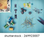 a collection of sewing items... | Shutterstock . vector #269923007