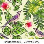 seamless birds pattern. blue... | Shutterstock . vector #269953193