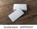 blank white business cards on a ... | Shutterstock . vector #269954537