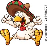 Cartoon Chicken With Mexican...