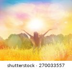 happy woman in wreath outdoors... | Shutterstock . vector #270033557
