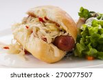 Grilled Hot Dog With Sauerkrau...