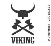 logo viking  helmet and axes | Shutterstock .eps vector #270151613