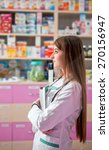 young doctor in pharmacy with... | Shutterstock . vector #270156947