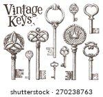 retro key vector logo design... | Shutterstock .eps vector #270238763