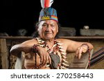 shaman in ecuadorian amazonia... | Shutterstock . vector #270258443