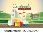 rural landscape with a cow  and ... | Shutterstock .eps vector #270268997