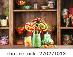 colorful candies in jars on... | Shutterstock . vector #270271013