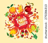 banner with fruit  and splashes ... | Shutterstock .eps vector #270286313