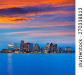 Boston Skyline At Sunset And...