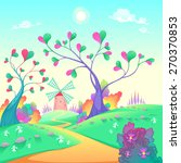 springy landscape with windmill.... | Shutterstock .eps vector #270370853
