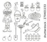 girl gardener and a set of...   Shutterstock .eps vector #270401153