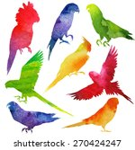 parrot silhouette. watercolor... | Shutterstock .eps vector #270424247