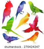 parrot silhouette. watercolor... | Shutterstock .eps vector #270424247