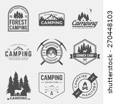 vector set of camping and outdoor adventure vintage logos, emblems, silhouettes and design elements | Shutterstock vector #270448103