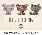 vector lovely cute ... | Shutterstock .eps vector #270486257