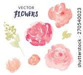 watercolor flower vector with... | Shutterstock .eps vector #270540023