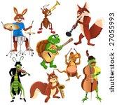 cartoon animals band | Shutterstock .eps vector #27055993