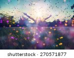 young girl spreading hands with ... | Shutterstock . vector #270571877