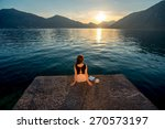 lonely woman dreaming and... | Shutterstock . vector #270573197