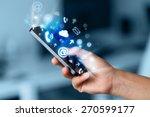 business man holding smart... | Shutterstock . vector #270599177