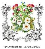 garden watercolor floral...   Shutterstock .eps vector #270625433