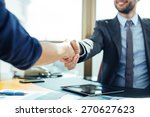 close up of business handshake... | Shutterstock . vector #270627623