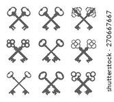Set Of Crossed Keys Silhouette...