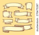 vector set of doodle scrolls... | Shutterstock .eps vector #270675287