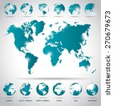 modern globes and world map ... | Shutterstock .eps vector #270679673
