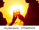 silhouette of couple enjoying... | Shutterstock . vector #270685553