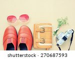 vintage leather shoes  leather... | Shutterstock . vector #270687593
