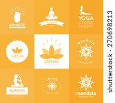 set of logos for yoga studio in ... | Shutterstock .eps vector #270698213
