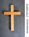 wooden cross on rusty black... | Shutterstock . vector #270728993