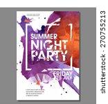 Summer Night Party Vector Flye...