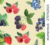 berry seamless pattern with... | Shutterstock .eps vector #270762023