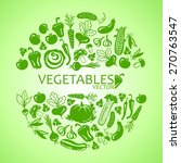 circle of icons vegetables on a ... | Shutterstock .eps vector #270763547